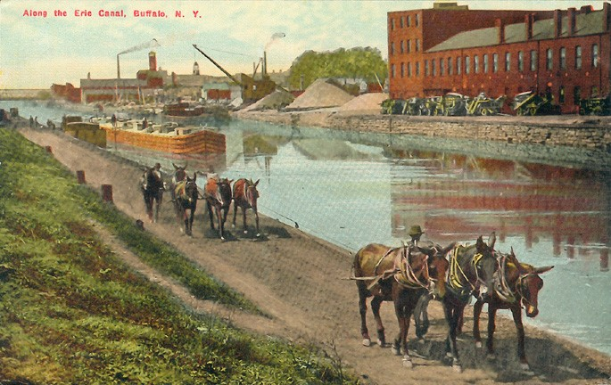 """""""A depiction of the Erie Canal in Buffalo, New York,"""" The Archaeological Conservancy. Accessed at https://www.archaeologicalconservancy.org/update-e-in-honor-of-labor-day-a-look-at-clintons-ditch-the-erie-canal/ on May 11, 2019."""